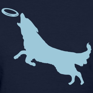 Dog with Frisbee - Women's T-Shirt