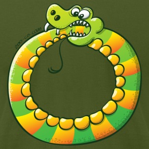 Crazy Snake Biting its own Tail T-Shirts - Men's T-Shirt by American Apparel