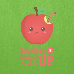 eating me up - cute apple with worm Bags & backpacks - Tote Bag