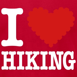 I love Hiking (knobbly heart) T-Shirts - Men's T-Shirt by American Apparel