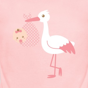 pink stork delivering baby girl Baby & Toddler Shirts - Short Sleeve Baby Bodysuit