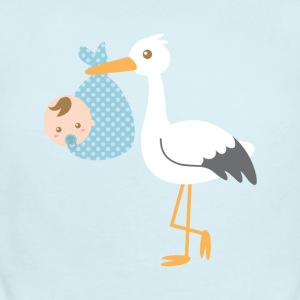 stork delivers baby boy in blue polka dot bundle Baby & Toddler Shirts - Short Sleeve Baby Bodysuit