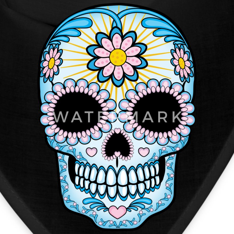 Colorful Sugar Skull Caps - Bandana