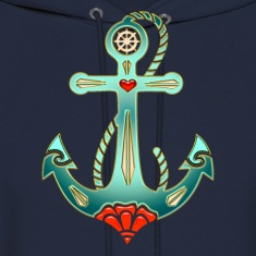 Anchor Tattoo Style, Sea, Hope, Faith & Love Hoodies