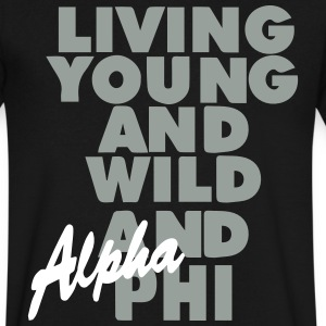 LIVING YOUNG AND WILD AND FREE AND PHI T-Shirts - Men's V-Neck T-Shirt by Canvas