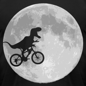 Dinosaur Bike and Moon - Men's T-Shirt by American Apparel