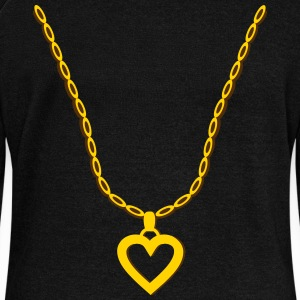 Gold Heart Pendant Long Sleeve Shirts - Women's Wideneck Sweatshirt