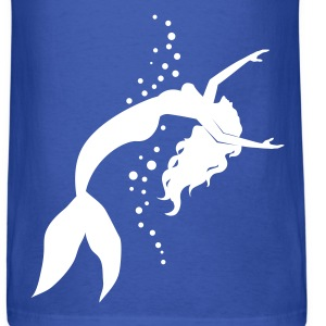 mermaid swimming silhouette and bubbles - Men's T-Shirt
