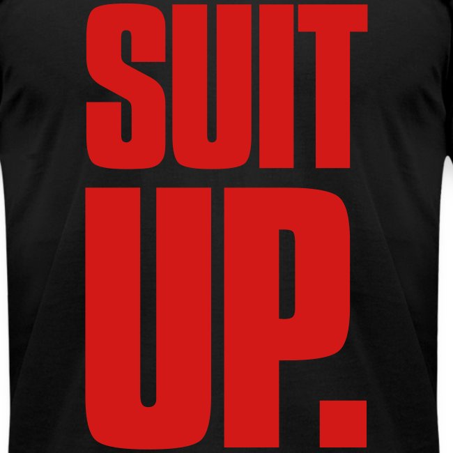"""Suit Up."" Men's American Apparel Tee (Red on Black)"