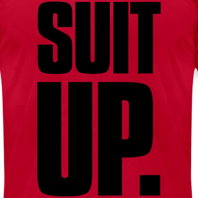 """Suit Up."" Men's American Apparel Tee (Black on Red)"