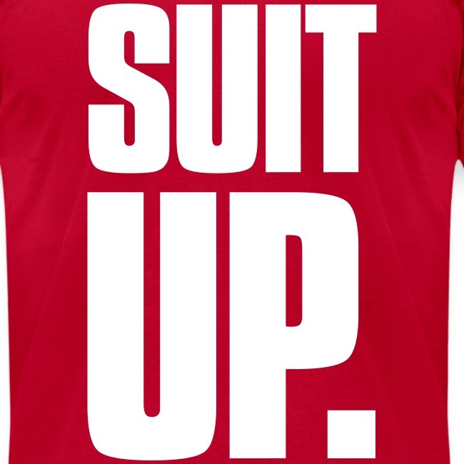 """""""Suit Up."""" Men's American Apparel Tee (White on Red)"""