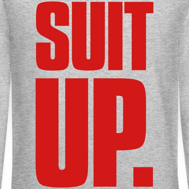 """Suit Up."" Men's Crew Neck Sweater (Red on Grey)"