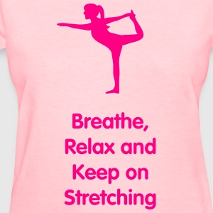 neon pink silhouette of lady doing a yoga stretch  - Women's T-Shirt