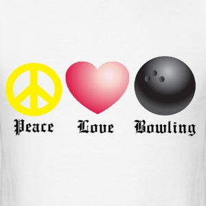 Peace, Love, Bowling - Men's T-Shirt