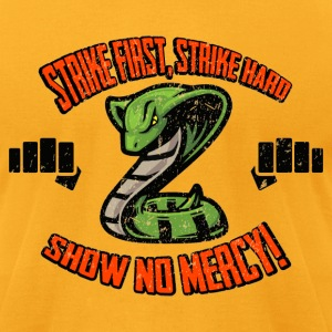Strike First, No Mercy Cobra Kai T-Shirts - Men's T-Shirt by American Apparel