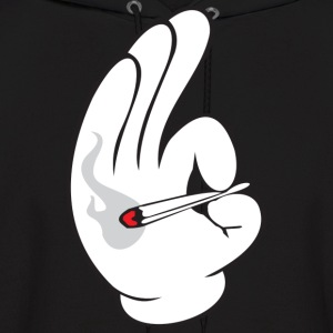 cartoon hand smoking Joint - Men's Hoodie