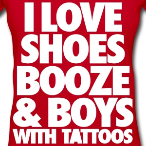 I Love Shoes Booze And Boys With Tattoos Women's T-Shirts - Women's V-Neck T-Shirt