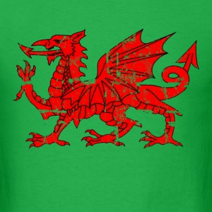 wales flag dragon distressed - Men's T-Shirt