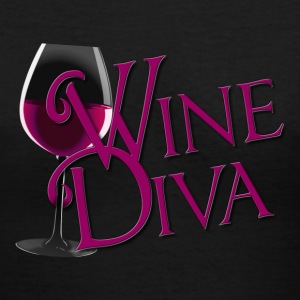 Wine Diva in burgandy - Women's V-Neck T-Shirt