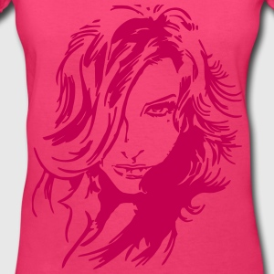 Girl Face Women's T-Shirts - Women's V-Neck T-Shirt