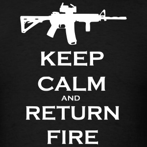 Men's Black Keep Calm & Return Fire T Shirt - Men's T-Shirt