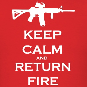 Men's Red Keep Calm & Return Fire T Shirt - Men's T-Shirt