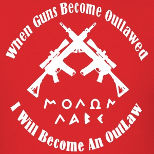Men's Red Outlaw Molon Labe Shirt - Men's T-Shirt