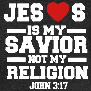 JESUS IS MY SAVIOR NOT MY RELIGION - Unisex Tri-Blend T-Shirt by American Apparel