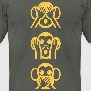 Three Wise Monkeys Emoticon Vertical T-Shirts - Men's T-Shirt by American Apparel