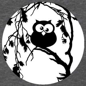 Funny owl sitting in the tree and has the moon in  Women's T-Shirts - Women's T-Shirt