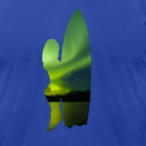 Northern Lights Surfer Girl - Wave Sports Scene 01 T-Shirts - Men's T-Shirt by American Apparel