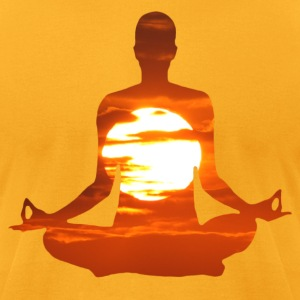 Man meditating yoga in the evening sun 01 T-Shirts - Men's T-Shirt by American Apparel
