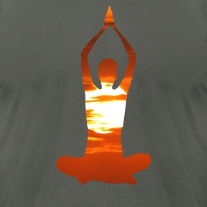 Man meditating yoga in the evening sun 02 T-Shirts - Men's T-Shirt by American Apparel