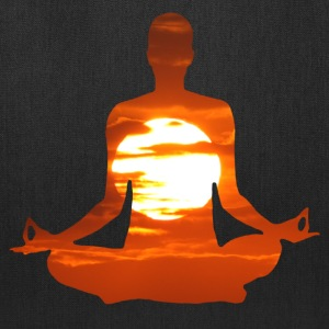 Man meditating yoga in the evening sun 01 Bags & backpacks - Tote Bag