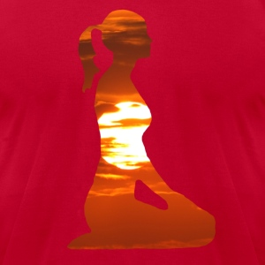 Yoga woman meditating in the evening sun T-Shirts - Men's T-Shirt by American Apparel