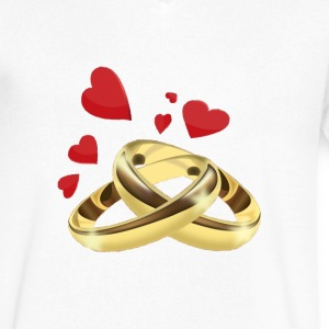Rings T-Shirts - Men's V-Neck T-Shirt by Canvas