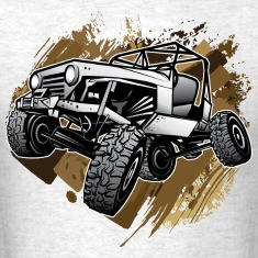 Off-Road Mudding White Jeep T-Shirts