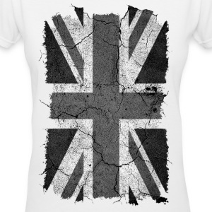Grunge Monochrome Union Jack UK Flag - Women's V-Neck T-Shirt