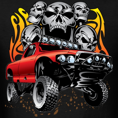 Race Truck With Flaming Skulls