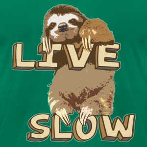 Funny Sloth - LIVE SLOW - Men's T-Shirt by American Apparel
