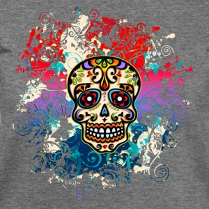 Mexican Sugar Skull, Flowers, Ornaments, Dead Long Sleeve Shirts - Women's Wideneck Sweatshirt