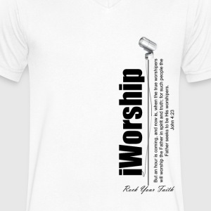 iWorship - Men's V-Neck T-Shirt by Canvas