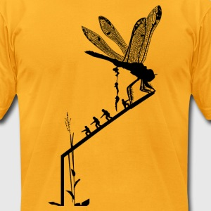 Dragonfly insertion - black silhouette - Men's T-Shirt by American Apparel