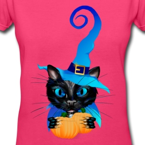 Blue Witch Kitty - Women's V-Neck T-Shirt
