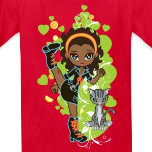 Aisha the African American Chibi Girl - Kids' T-Shirt