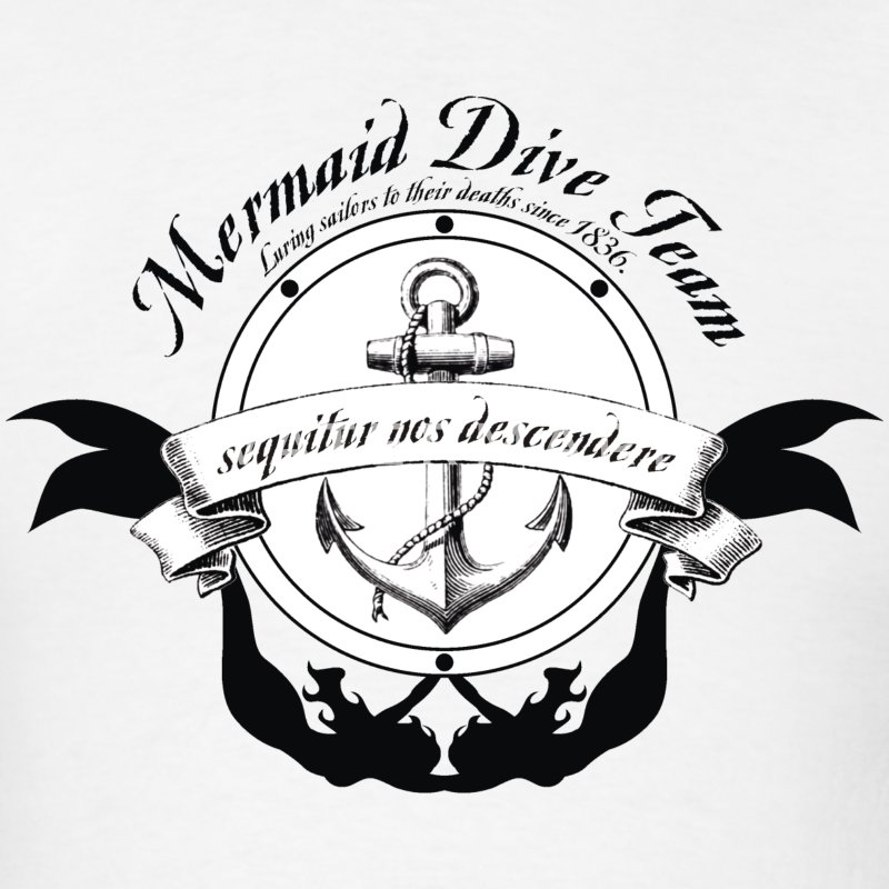 Mermaid Dive Team - Black  T-Shirts - Men's T-Shirt
