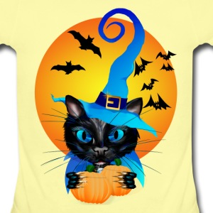 Blue Witch Kitty -Harvest Moon - Short Sleeve Baby Bodysuit