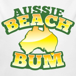 Aussie BEACH Bum with Australian Map Baby & Toddler Shirts - Long Sleeve Baby Bodysuit