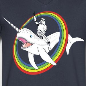 Narwhal Rainbow Stormtrooper - Men's V-Neck T-Shirt by Canvas