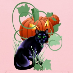 Black Cat and Glaring Pumpkin